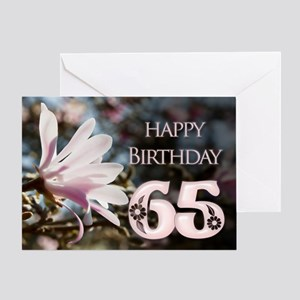 65th birthday card with magnolias Greeting Cards