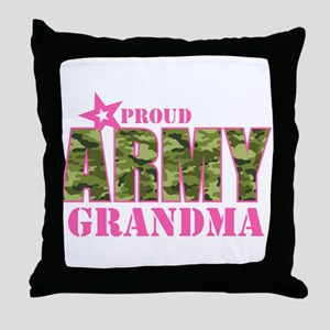 Camo Proud Army Grandma Throw Pillow