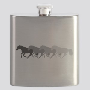 Four Horses Grayscale Flask