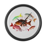 5 snappers Large Wall Clock