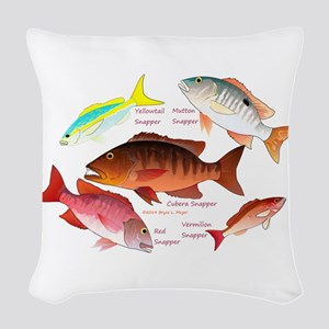 5 snappers Woven Throw Pillow