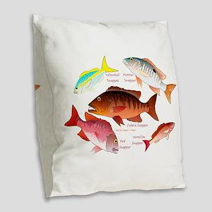 5 snappers Burlap Throw Pillow