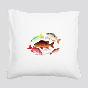 5 snappers Square Canvas Pillow