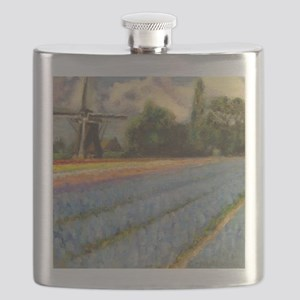 Holland Flowers Windmill Triptych 2 of 3 Flask