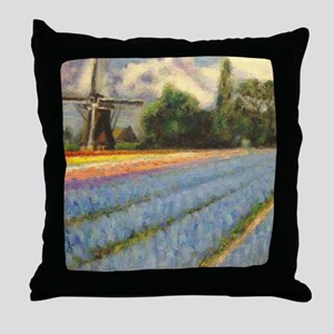 Holland Flowers Windmill Triptych 2 o Throw Pillow