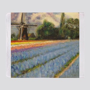 Holland Flowers Windmill Triptych 2 Throw Blanket