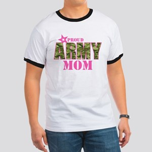 Camo Proud Army Mom Ringer T