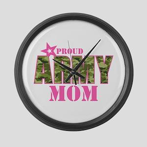 Camo Proud Army Mom Large Wall Clock