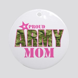 Camo Proud Army Mom Ornament (Round)