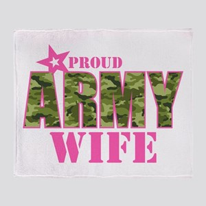Camo Proud Army Wife Throw Blanket