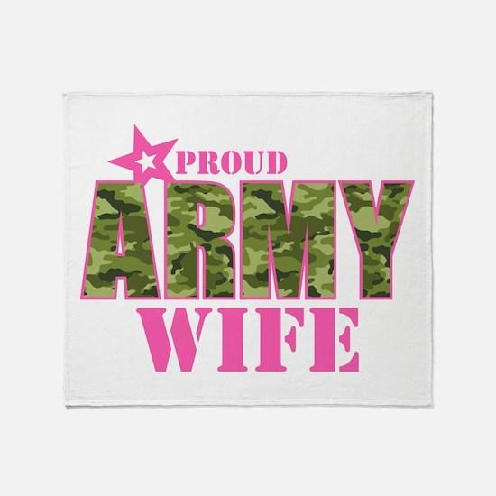 Camo Proud Army Wife Throw Blanket