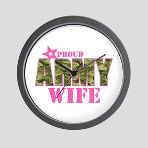 Camo Proud Army Wife Wall Clock