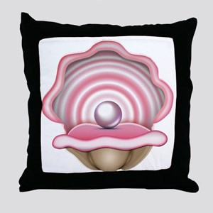 Pink Oyster with Pearl  Throw Pillow