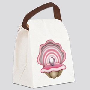 Pink Oyster with Pearl  Canvas Lunch Bag