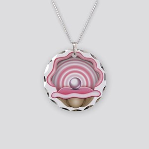 Pink Oyster with Pearl  Necklace Circle Charm