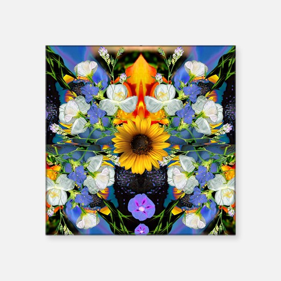 "Blue & Yellow Wildflower Co Square Sticker 3"" x 3"""