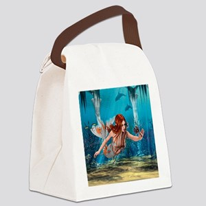 Mermaid holding Sea Lily Canvas Lunch Bag