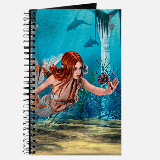 Mermaid holding Sea Lily Journal