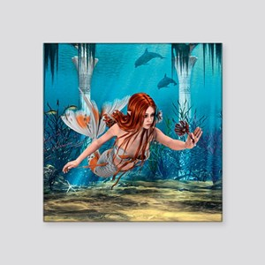 Mermaid holding Sea Lily Sticker
