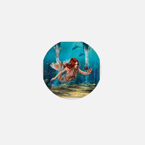 Mermaid holding Sea Lily Mini Button
