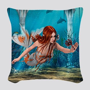 Mermaid holding Sea Lily Woven Throw Pillow