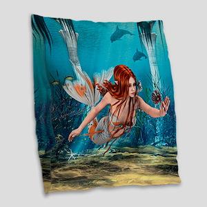 Mermaid holding Sea Lily Burlap Throw Pillow
