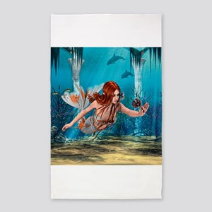 Mermaid holding Sea Lily 3'x5' Area Rug