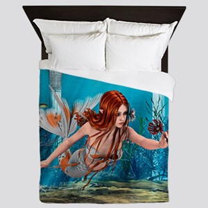 Mermaid holding Sea Lily Queen Duvet