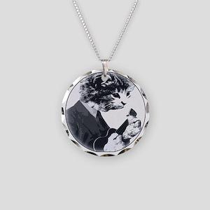 Ukulele Cat Necklace Circle Charm