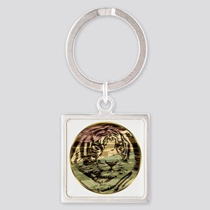 Golden tiger Square Keychain
