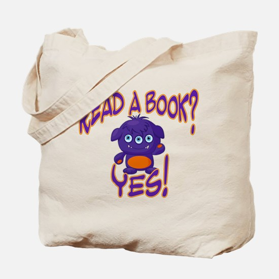 Purple Monster Reads Tote Bag