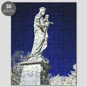Infrared madonna and child statue Puzzle