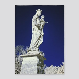 Infrared madonna and child statue 5'x7'Area Rug