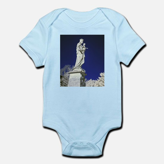 Infrared madonna and child statue Infant Bodysuit