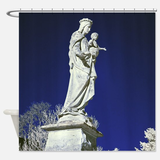 Infrared madonna and child statue Shower Curtain