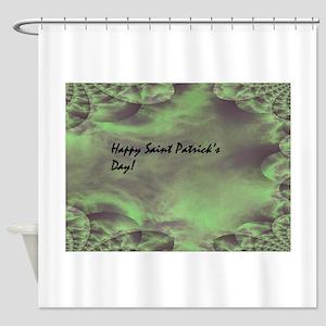 Green Hues Fractal Traced Cloud Shower Curtain