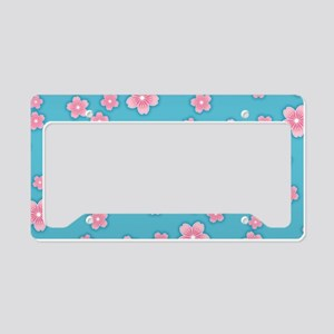 Cherry Blossoms Blue Pattern License Plate Holder