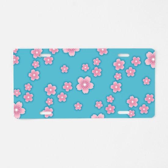Cherry Blossoms Blue Pattern Aluminum License Plat