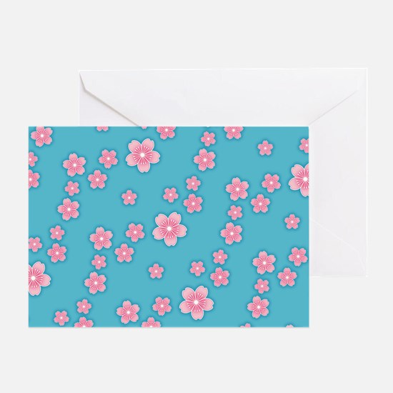 Cherry Blossoms Blue Pattern Greeting Cards