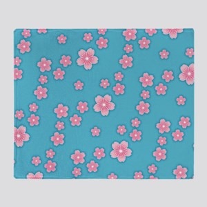 Cherry Blossoms Blue Pattern Throw Blanket