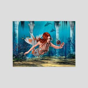 Mermaid holding Sea Lily 5'x7'Area Rug
