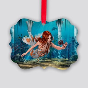 Mermaid holding Sea Lily Ornament