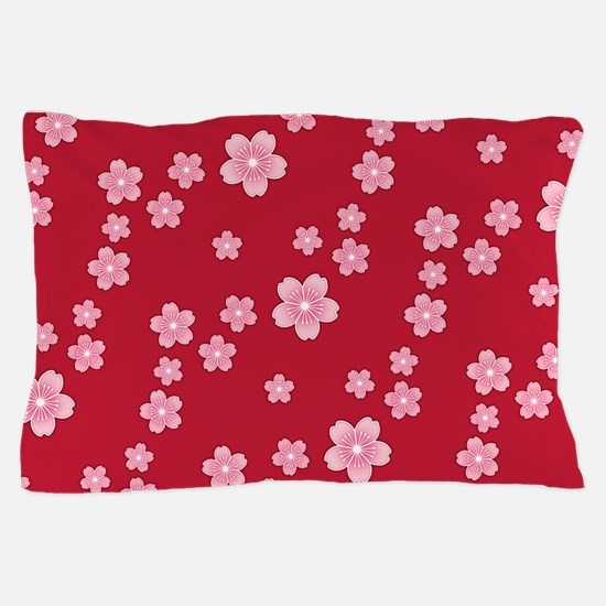Cherry Blossoms Red Pattern Pillow Case