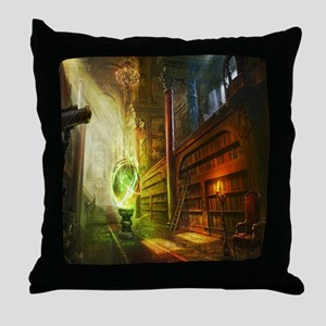 Mystical Library Throw Pillow