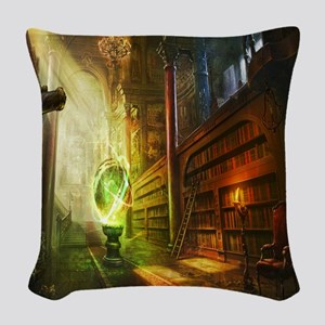 Mystical Library Woven Throw Pillow