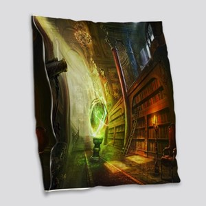 Mystical Library Burlap Throw Pillow