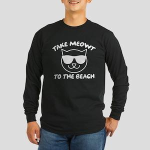 Take Meowt To The Beach Long Sleeve Dark T-Shirt