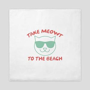 Take Meowt To The Beach Queen Duvet
