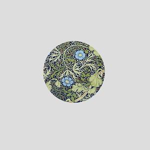 Blue Floral Vintage Wallpaper Mini Button