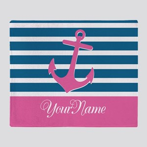 Anchor Elegant Stripe Personalized Throw Blanket